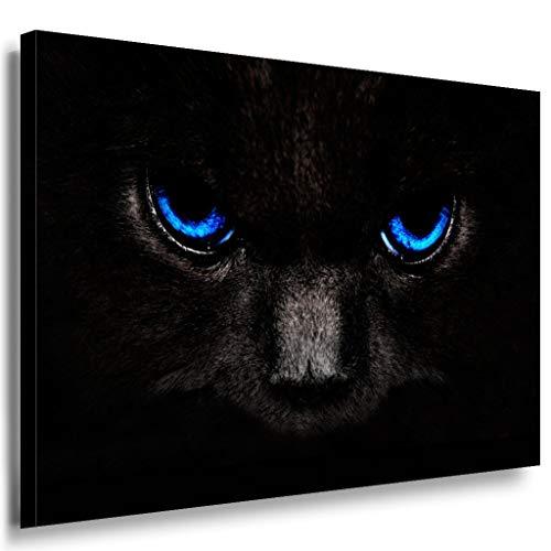 Schwarze Katze mit blauen Augen Leinwandbild LaraArt Bilder Mehrfarbig t172 Wandbild 70 x 50 cm