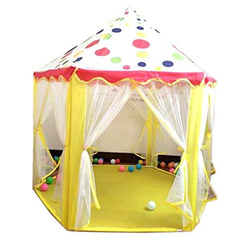 feuerwehrzelt Georgie Porgy Kinder sechseckiges Prinzessin SchlossSpiel Zelt Haus für Mädchen Innenaußen Spielzeug Spiel Haus (Gelb Hexagon)