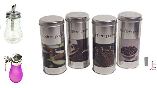 James Premium Paddose für 18 Kaffeepads, neues Design, Dose, Pad, 4er Set + Zuckerdose und Milchspender pink