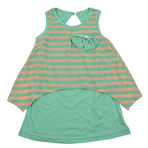 ragazze Guancheng 100% T-shirt giubbotto Bow poliestere a righe con maniche corte per bambini Abbigliamento per bambini 2-9 anni Sundress Dimensioni (130, Verde)
