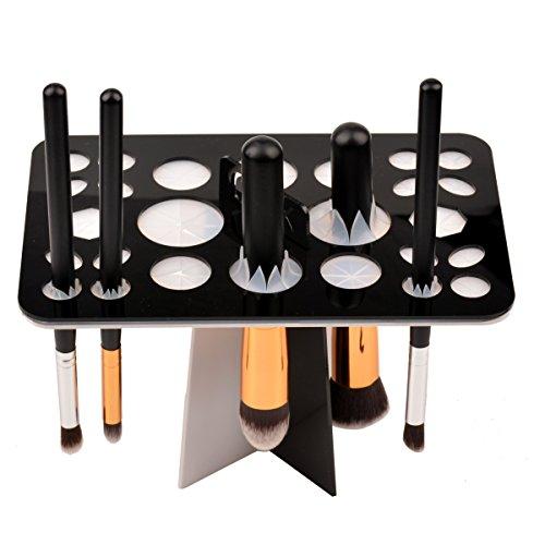 CkeyiN Mode 26 trous Acrylique Arbre pinceaux de maquillage titulaire pour Sécher Pinceaux de Maquillage (Noir)