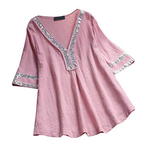 MOTOCO Sommer Damens Kurzarm/Kurzes Kleid V-Ausschnitt Polka Dot Platinum Piece Lace Panel Kurzarm Kleid Top(L(38),Rosa)