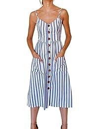 Vestito da donna con bottoni in spiaggia da donna a righe Abito con scollo  a V 69d4b119523