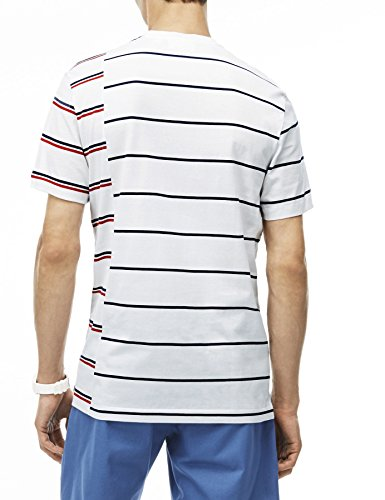 Lacoste Men's Made In France Men's White Striped T-Shirt 100% Cotton White