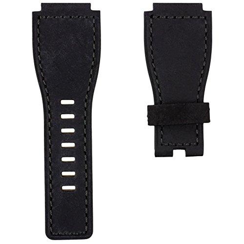 Uhrenarmband Geckota® Echtes Leder für Bell & Ross Uhren Schwarz / Grau 24mm