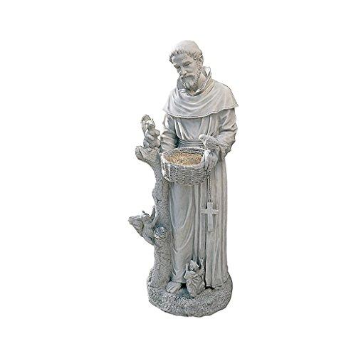 Design Toscano Der Pfleger der Natur, der Heilige Francis Gartenstatue Vogelhaus, Polyresin, Antikes Steingrau, groß 94 cm