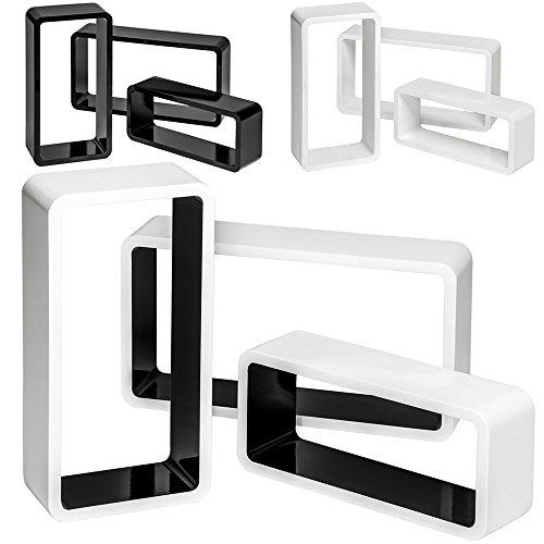 TecTake Lot de 3 étagères cubes murales livres salon cubes lounge CD - diverses couleurs au choix - (Noir-Blanc | No. 401588)