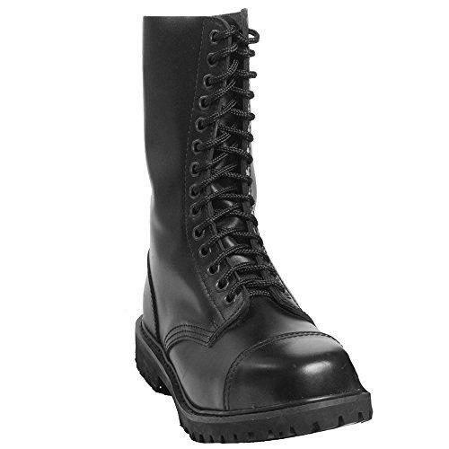 Mil-Tec - Invader 14 Loch Stiefel Boots Schwarz Stahlkappe Leder Schuhe Ranger Größe 42 (GB 8)