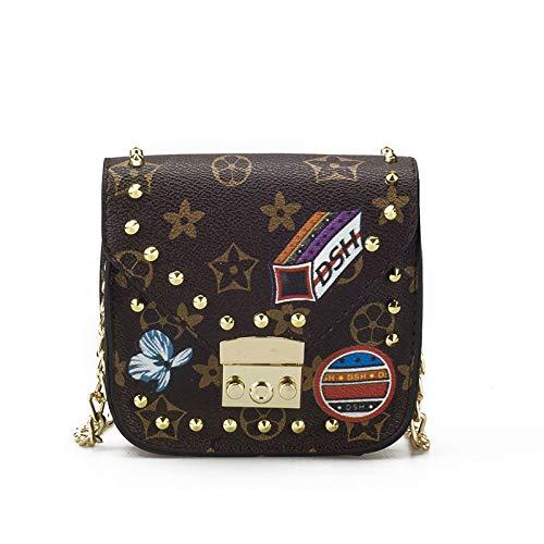 Ldyia DamentascheWomen's Bag Alte Blume Schulter Umhängetasche Weiblicher Beutel Druckkette Mini Beutel Mini Mädchen Elternpaket, Brown Star