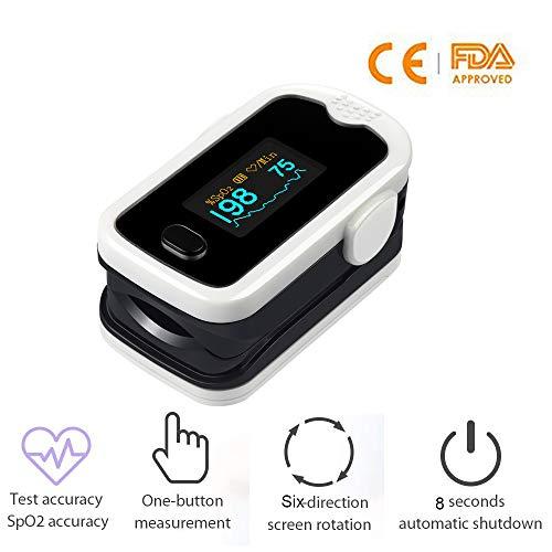 Lunasea Fingertip Pulsoximeter SpO2 Oximeter Blut Sauerstoff Monitor mit Automatische Abschaltung für kinder und erwachsene