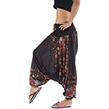 Damen Sommer Hose Hippie Haremshose Ballonhhose Bunt Goa Pumphose Baumwolle