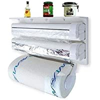 Piesome Triple Paper Dispenser | 4 in 1 Foil Cling Film Tissue Paper Roll Holder for Kitchen with Spice Rack -White…