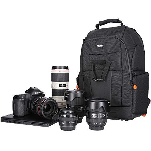 Rollei Fotoliner Fotorucksack M I großer Kamerarucksack I Daypack I inkl. Laptop-Fach, Regenschutz und Handgepäck tauglichen Maßen I Schwarz