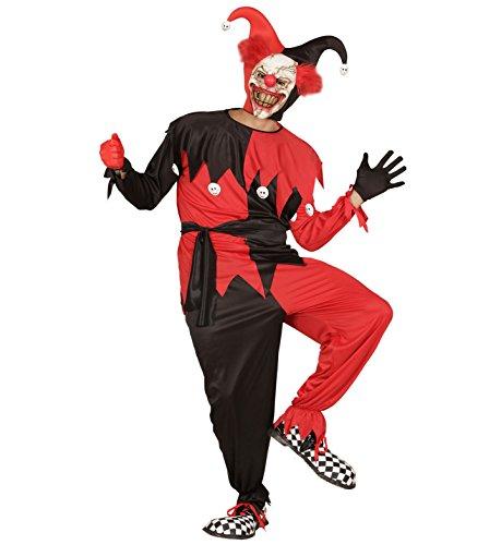 Widmann 01662 - Erwachsenenkostüm Evil Jester, Jacke, Hose, Gürtel und Hut, Größe M (Rot Jester Und Schwarz Hut)