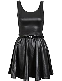 Nouveau Femmes Plus size shinny Wetlook Jupes PVC Tops Robe 44-54