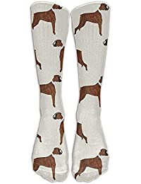 Estrange Mens Boxer Dog Pattern Dog Lover Pet Fashion Stocking Socks Athletic Sock Long Sock One
