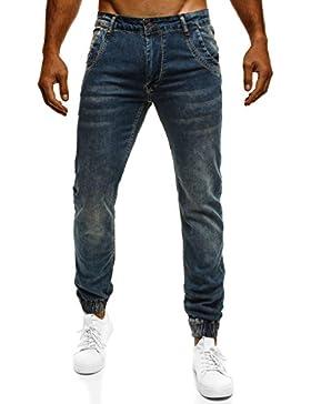 OZONEE Pantaloni Di Jeans Da Uomo Cascante Pantaloni Clubwear Jogger Pantaloni tuta RED POLO 05