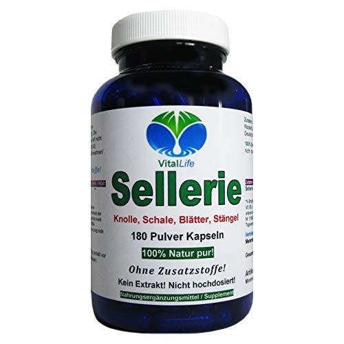 Sellerie 180 Pulver Kapseln Natur pur NICHT hochdosiert KEIN Extrakt OHNE Zusatzstoffe OHNE Füllstoffe....