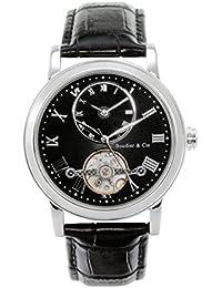 Boudier & Cie B15H9- Reloj analógico de pulsera para hombre (automático), correa de cuero negra