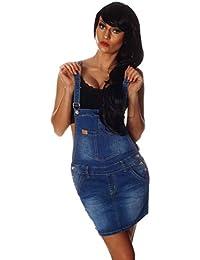 10693 Fashion4Young Damen Jeansskirt Jeansrock Minirock Trägern Latzrock Rock Jeans Blau 5 Größen