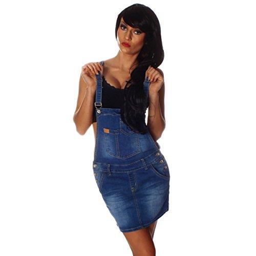 10693 Fashion4Young Damen Jeansskirt Jeansrock Minirock Trägern Latzrock Rock Jeans Blau 5 Größen (M=38, Blau)