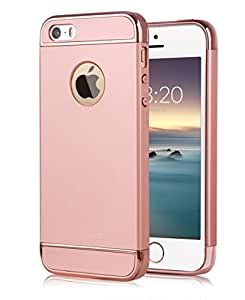 Joyroom Chrome 3 Piece Hybrid Protective Back Case Cover for Apple iPhone SE 5 5S - Rose Gold