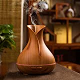 Brezzycloud Big Port Wood Grain Vase Style Aroma Diffuser Ultrasonic Cool Mist Humidifier with LED Lights