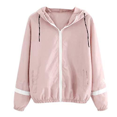 Toamen nuovo cappotto in tinta unita da donna felpa con cappuccio maglia 2019 con maniche lunghe stampa con cerniera lampo camicia basic(rosa,)