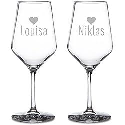 Juego de 2 copas de vino – Con corazón grabado – Para parejas – Personalizado con los nombres