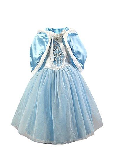 Le SSara MädchenkurzeÄrmelSchneeprinzessinCosplayKostümKleidmitUmhang (5-6 Jahre, (Kostüm Mädchen Schnee)