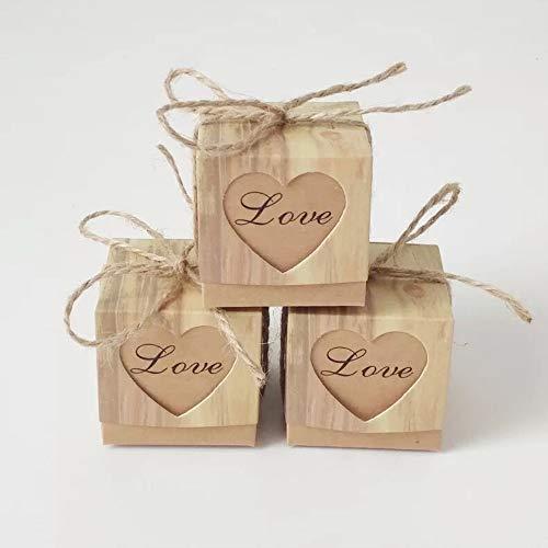 0 Stück Vintage Hochzeit Favor Candy Box mit Herz und Jute Sackleinen Hochzeit Gastgeschenke für Süßigkeiten Hochzeit, Party, Geburtstag, Weihnachten, Baby Shower und DIY Craft ()
