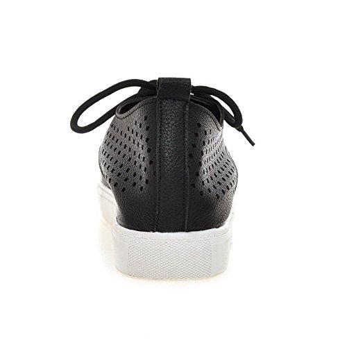 AgooLar Femme Couleur Unie Pu Cuir à Talon Bas Rond Lacet Chaussures Légeres Noir