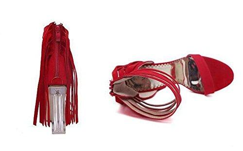 11CM Transparent Kristall Chunkly Heel Quaste Sandalen Frau Mode Open-Toed Reißverschluss Quaste Fesselriemen Sandalen Abendschuhe Eu Größe 34-40 light brown
