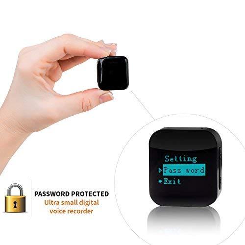 Mini Registratore Vocale con File Protetti da Password - 8GB / 570 ore Capacità - Autonomia 24 ore | Cimice Spia con Attivazione Vocale