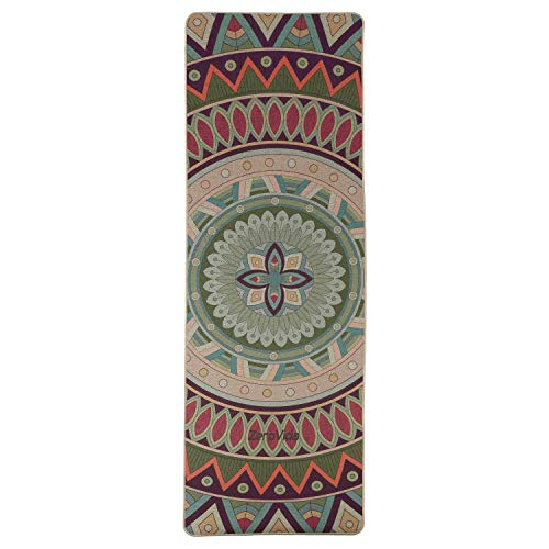 ZEROVIDA Colchoneta de Yoga 5mm Yoga Mat Caucho Natural 100% con Lino Ecológica Esterilla de Yoga Profesional Lujoso Antideslizante para Hot Yoga Pilates Bikram Ashtanga Gimnasia Fitness