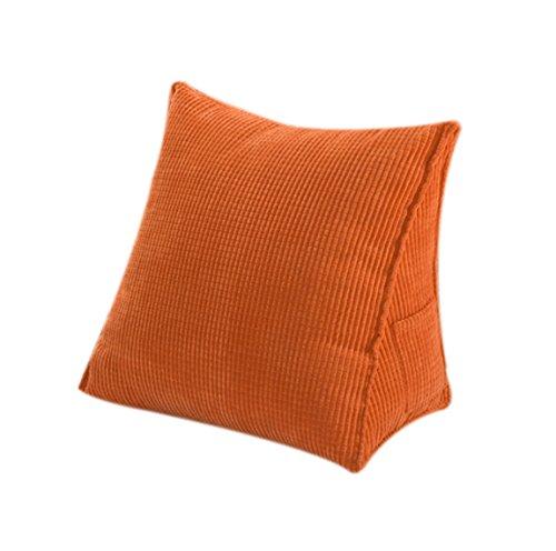 Halovie triangolo cuscino posteriore, [47*45*23cm] cuscino a forma di cuneo cuscino per divano letto sedia da ufficio da casa perfetto per riposare arancione