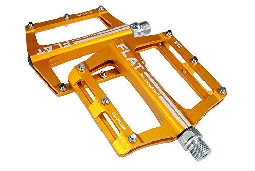 FrontStep Aluminium Anti-Rutschpedale Leicht Fahrrad Pedale Für MTB/Mountainbike Pedal/BMX Pedal Mit Cr-Mo Stahlspindel (Gelb)
