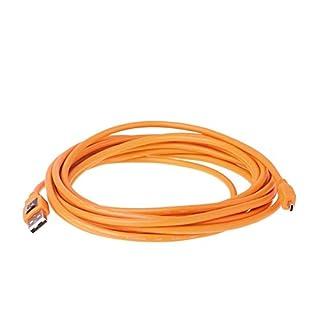 Tether Tools TetherPro 4,6 Meter USB-Datenkabel (Anschlusskabel, Übertragungskabel) für USB 2.0 an USB 2.0 Mini-B (8-Pin) orange - z.B. zum Anschließen einer Kamera an ein Notebook