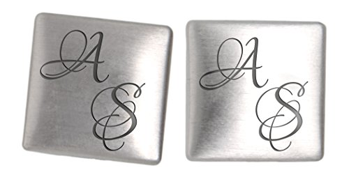 InternationalConnection Handgefertigte Manschettenknöpfe aus 925 Sterling Silber mit Gravur Manschettenknopf Hochzeit cuff link button