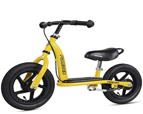 Equilibrio Bicicletta per 2-6 Anni,Leggero Regolabile Posto Sedere Maniglia Pneumatici Gonfiabili Durevoli Telaio in Acciaio Carbonio Bicicletta Regalo -12 Pollici di Colore Giallo, Yellow