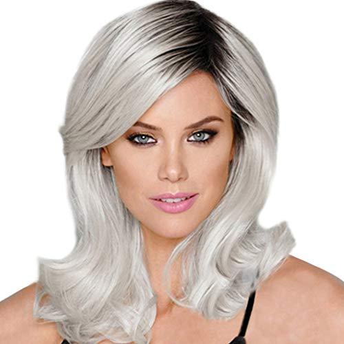 GNYD Damen Mode Art und Weise synthetische Mikro-Volumen Welle schwarz silberne graue Frauenperücken natürliches - Rapunzel Kostüm Kurze Haare
