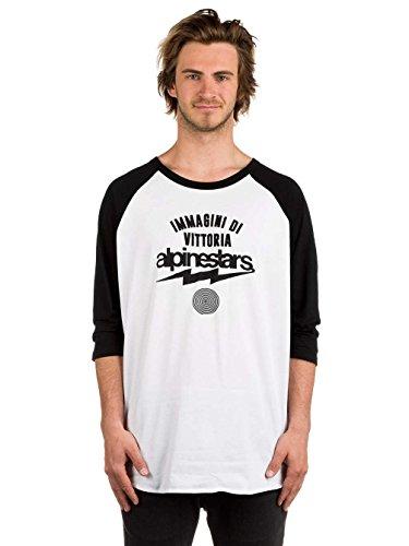 Alpinestars Herren Team Spirit Heritage Modern Fit 3/4 Sleeve T-Shirt, Weiß, M (3 4 Sleeve Shirt-logo)