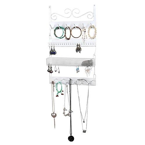 Metall Wandmontage vierflammig Jewelry Rack, 18Haken Ohrringe, Ringe, Ketten, Armbänder Organizer Modern - Creole Kostüm