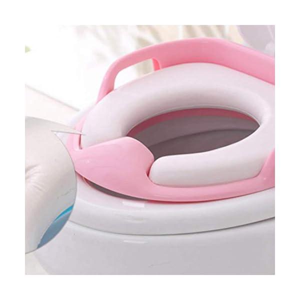 Asiento de Inodoro,Tapa WC Plegable para Niños,Asiento Reductor para bebé,Toilet Trainer Seat portátil adecuado para mayoría de TamAnos de inodoro(Rosa)