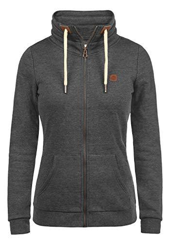 DESIRES Vicky Zipper Damen Sweatjacke Jacke Sweatshirtjacke Mit Stehkragen, Größe:XL, Farbe:Dark Grey Melange (8288)