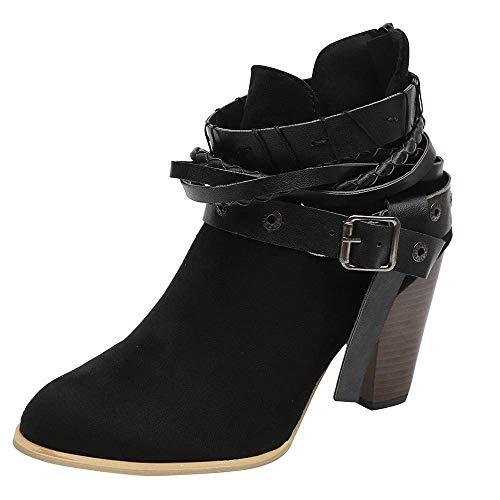 ZHRUI Damen Knöchel kurz Booties Leder Ritter Damen Martin Stiefel Schuhe Stiefel (Farbe : Schwarz, Größe : 7 UK)