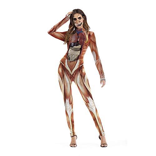 Reißverschluss Menschliche Kostüm - Lbellay Lustige Halloween-Strumpfhose Realistisches Gewebe und Organ des menschlichen Körpers Bedruckter Overall mit Reißverschluss Karneval Bühnenkostüm,Brown-S/M