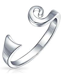 Bling Jewelry Bling joyería celta en plata esterlina espiral MIDI Ring anillos de dedo de pie ajustable