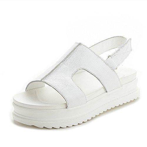 Damen Sandalen Dicke Sohle Anti-Rutsche Klettverschluss Slingback Sommer Bequeme Einfache Schuhe Weiß