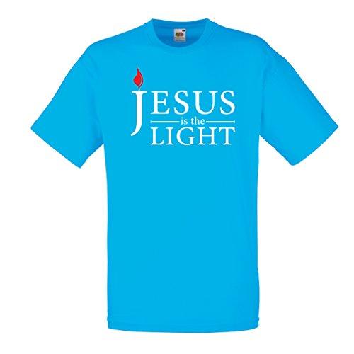 Männer T-Shirt Jesus Christus ist das Licht, die Liebe Gottes - Ostern - Auferstehung - Geburt Christi - Religiöse christliche Geschenke (Small Blau Mehrfarben) -
